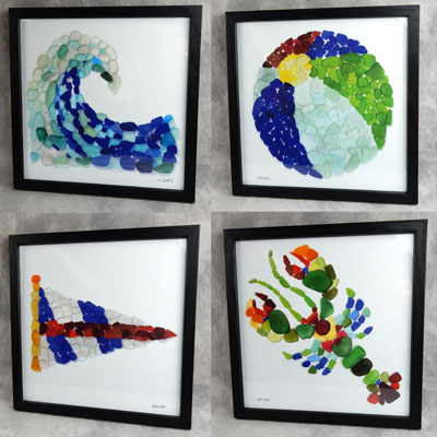sea glass mosaic art prints