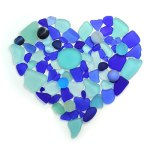 Blue seaglass and marbles heart
