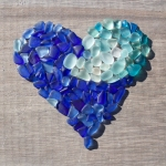 seaglass blue ombrea heart