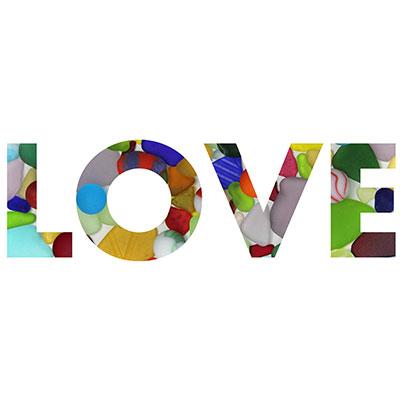 Multicolor seaglass LOVE