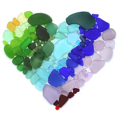 Jewel Tone Seaglass Heart