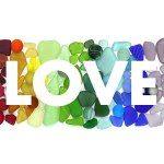 Rainbow seaglass white LOVE