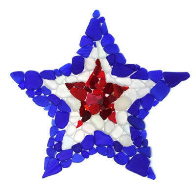 sea glass red white and blue patriotic star