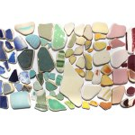 rainbow of sea pottery seaglass