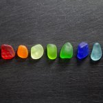 seaglass rainbow nuggets on black