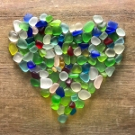 seaglass heart on wood