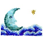 sea glass moon clouds star