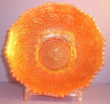 persimmon red glass bowl
