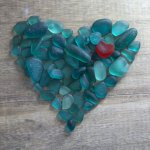 sea glass turquoise heart