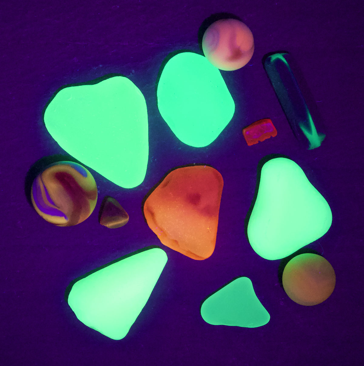 uv sea glass and sea marbles